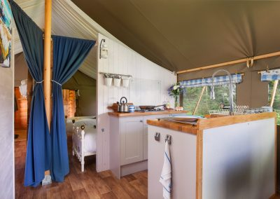 Lodge Kitchen Lower Keats Glamping Devon