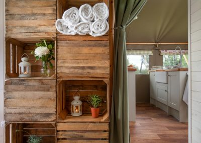 Storage space and kitchen Lower Keats Glamping Devon