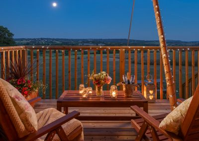 Moonlit balcony Lower Keats Farm Glamping Devon