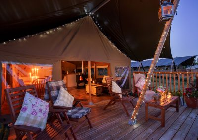 Cabin at night - Lower KEats Luxury Glamping Devon