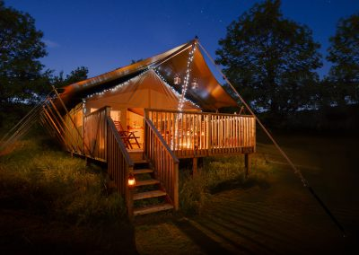Fairy lights on the balcony Lower Keats Farm Glamping Devon