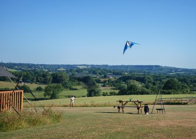 Fly a kite on site. Lower Keats Glamping Devon.